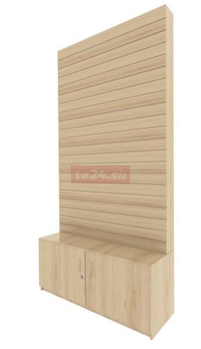 Экономпанель из дерева с дверцами с замком высотой 240 см — модель 1