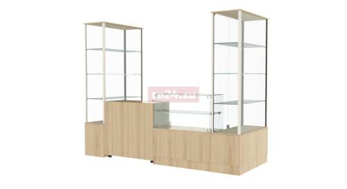 Павильон торговый модульный из стекла и ЛДСП - модель 34