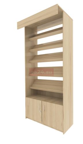 Стеллаж торговый с 5 полками под книги и нижним ящиком— модель 16